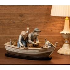 """Lladro """"Дедушка с внуком и собакой на рыбалке"""""""