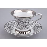 Чайная  пара  Византия белая платина